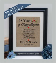18th Wedding Anniversary Gifts 18 Years Married Together Gift For