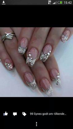 Silver glitter sparkle nails