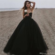 d30f3afd11c 2019 New Black Prom Evening Dresses Tulle Long Spaghetti Straps Formal  Party Ball Gowns Sweetheart Plus Size Pageant Dresses Floor Length