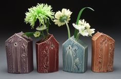 Kristen Kieffer House Form Vases click the image for more details. Ceramics Projects, Clay Projects, Ceramics Ideas, Tulips In Vase, Bud Vases, Ceramic Boxes, Ceramic Vase, Make Your Own Pottery, Clay Teapots