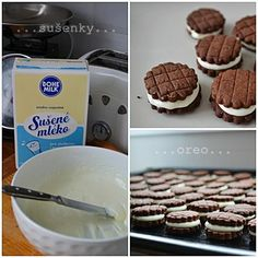 Sušenky á la OREO - S POSTUPEM Oreo, Czech Recipes, Christmas Cookies, Waffles, Cereal, Muffin, Healthy Recipes, Healthy Food, Milk