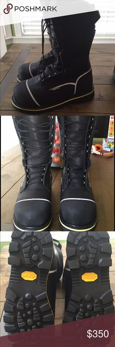 """Red Wing Work/Safety Boots, size 10D Brand new, without box. Red Wing, style #4495, 12"""" Black Yukon Leather. My husband bought these for over $500 and never wore them even once. They have been at the top of the closet and are in perfect condition. They are great work boots that are waterproof, electrical hazard, steel toed, reflective strips, insulated, metatarsal guard, oil and slip resistant sole, and puncture resistant. They look really cool with the white reflective strips on the black…"""