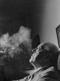 Portrait of Architect Mies Van Der Rohe Exhaling Smoke