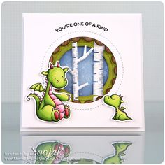 "Handgemachte Karte | handmade card - My Favorite Things ""Magical Dragons"", ""Magical Unicorns"", ""Peek-A-Boo Circle Window"", ""Jumbo Peek-A-Boo Circle Window"", ""Birch Trees"", Copics, Distress Ink"