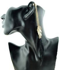 Super Hot 10K Gold Plated Ear Cuff w/ Black Feather (One Ear Cuff)