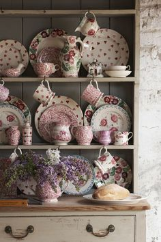 Use a mix of patterns in soft girl shades on distressed furniture to create the perfect shabby chic look. Perfect for kitchens and dining rooms.