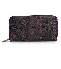 Loungefly Black/Purple Tweed Sugar Skull Wallet