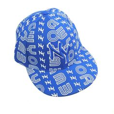 eb4b1611 Fitted Flat Bill Baseball Cap. Front - Embroidered NY. Color - Blue & White