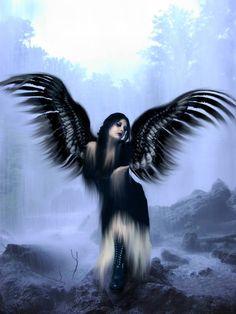 Black Fallen Angel, in Purple Dark Angels, Angels And Demons, Fallen Angels, Guardian Angels, Gothic Angel, Gothic Fairy, Gothic 4, Beautiful Dark Art, Beautiful Fairies