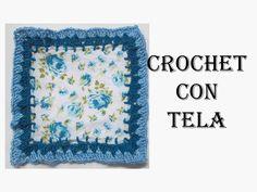 Cuadrado # 4 Crochet con tela