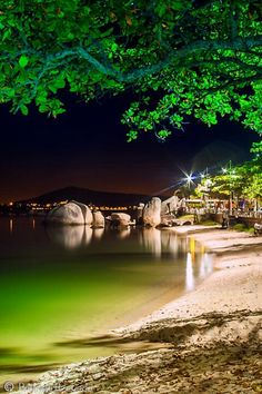 Night on the beach at Praia de Itaguacu, Florianopolis Places Around The World, Travel Around The World, Around The Worlds, Rio Grande Do Sul, Santa Catarina Brazil, Places To Travel, Places To See, Wonderful Places, Beautiful Places