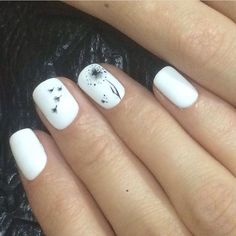 Cute nails, Easy nail designs, Everyday nails, Ideas of gentle nails, Medium nails, Nails with pictures, Plain white nails, Spring summer nails 2017
