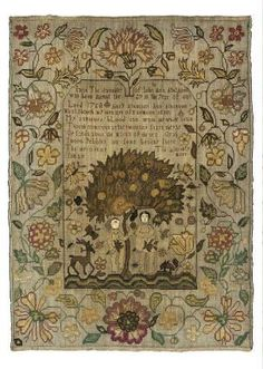 Jane Atkinson late 1700's. This sampler was reproduced by The Scarlet Letter (I've got this chart in my personal stash.) This sampler is lush and balanced, and there's a lot to look at.