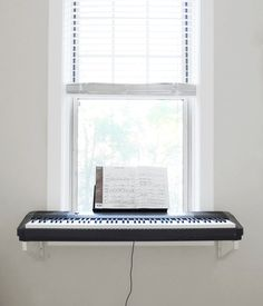 Instead of a bulky stand, the keyboard rests on shelf brackets. Piano Room Decor, Bedroom Decor, Home Studio Music, Two Bedroom Apartments, Cheap Furniture, Metal Furniture, Luxury Furniture, Home Office Decor, New Room