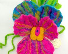 Felted Flower, Hand Felted Brooch, Wool Jewelry felted  brooch  viola