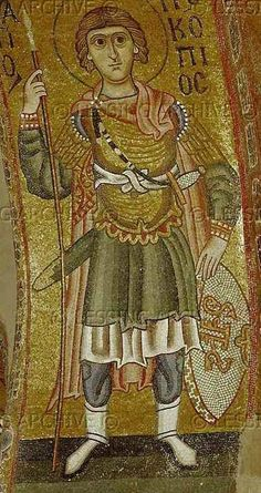 Saint Prokopius as a military saint, Hosios Loukas Monastery, Boeotia, Greece