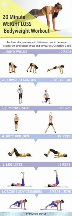 20 minute bodyweight circuit #Workout for weight loss. Burn calories and lose weight by performing this 20 minute bodyweight #Workout 3 days a week. Get lean and strong. #weightloss #loseweight #bodyweigthworkout #TooFit2Sweat
