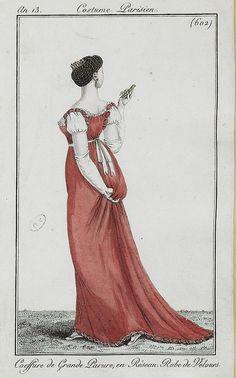 Coiffure de Grande Parure en Réseau, Robe de Velours - 1804-05