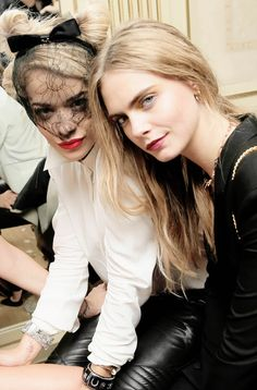 Rita Ora and Cara Delevingne attend the 'Mademoiselle C' cocktail party at Pavillon Ledoyen on October 1, 2013 in Paris, France