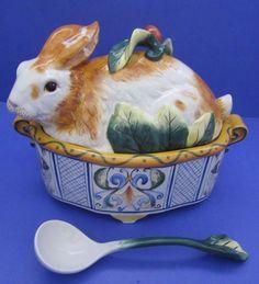 "Fitz Floyd Ricamo Rabbit Bunny 13"" Covered Tureen w Ladle Original Box NIB Mint! | Pottery & Glass, Pottery & China, China & Dinnerware | eBay!"