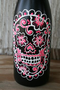 Day of the Dead Wine bottle Vase Up Cycled Hot Pink by LucentJane