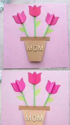 PAPER TULIP CARD 🌷 - such a simple and pretty Mother's day card craft! Easy for kids to make with free printable templates. A lovely Mother's day craft for kids. crafts for kids easy PAPER TULIP CARD 🌷 Easy Mother's Day Crafts, Mothers Day Crafts For Kids, Mothers Day Cards, Easy Crafts, Diy And Crafts, Arts And Crafts, Easy Diy, Mothers Day Ideas, Diy Paper Crafts