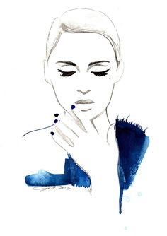 Cat Eye, watercolor and pen fashion illustration by Jessica Durrant