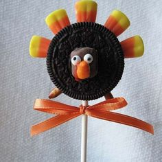 <p>My family made these a couple years ago during our Thanksgiving craft time. </p><p>It was a hoot, and very simple: oreo cookies are outfitted with pretzel legs and candy corn feathers and before you know it, you've got another edible turkey on the table. We even had a contest for the best one!</p>