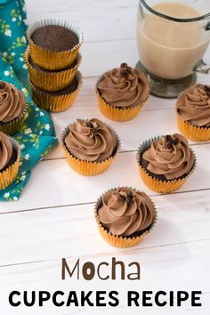 Delicous coffee and chocolate mocha cupcakes to satisfy everyones sweet tooth!   #CupcakeRecipe #Mocha #Cupcakes Kid Desserts, Best Dessert Recipes, Cupcake Recipes, Sweet Recipes, Baking Recipes, Delicious Desserts, Cupcake Cakes, Yummy Food, Healthy Recipes