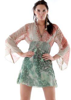 Bohemian Tunika Kleid jade: REINA AND ROSES, Ibiza * Onlineshop www.lapurpura.de