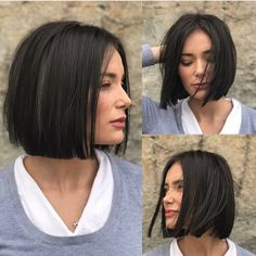 """Cortes Curtos° on Instagram: """"Blunt Cut . Para mulheres poderosas. Ou seja para todas nós 🤗💕 Por @rute_boazhair .. ... ....…"""" Haircuts Straight Hair, Round Face Haircuts, Blunt Bob Haircuts, Choppy Bob Hairstyles, Short Dark Hair, Short Straight Hair, Short Bob Round Face, Medium Hair Cuts, Short Hair Cuts"""