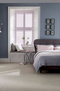 home accents bedroom Dusty greys and blues with added hints of pale pink make the perfect calming bedroom interior. Mix different textures and modern furniture will complete the look. Our House Beautiful Shutters range is a perfect addition to the room. Trendy Bedroom, Modern Bedroom, Summer Bedroom, White Bedroom, Minimalist Bedroom, Cozy Bedroom, Blue Grey Bedrooms, Minimalist Design, Blue And Pink Bedroom