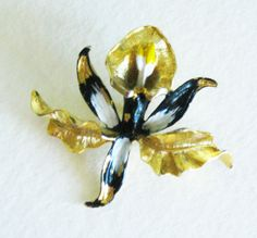 Gerri Vintage Black Orchid Brooch Goldtone by mainevintagetreasure, $19.00