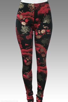 GILDED CHRYSANTHEMUM asian floral printed leggings