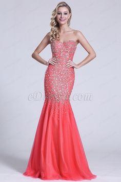 Trägerlos Süß Herz Perlen Koralle Prom Kleid (C36151157) #edressit #kleid #dress #perlen #beadings #abendkleid #eveningdress #fashion #promdress