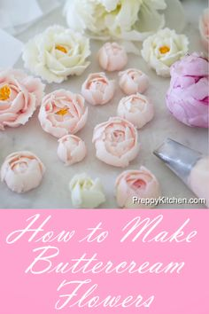 to Make Buttercream Flowers Making Buttercream Flowers for wedding cake toppings or cupcake toppings is very easy to make.How to Make Buttercream Flowers Making Buttercream Flowers for wedding cake toppings or cupcake toppings is very easy to make. Frosting Flowers, Buttercream Flower Cake, Fondant Flowers, Cake Icing, Cupcake Cakes, Buttercream Flowers Tutorial, Fondant Flower Tutorial, Royal Icing Flowers, Flower Icing Tips