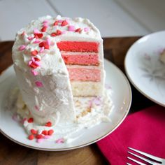 Ombré Valentines Day Cake for Two