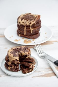 two stacks Chocolate Peanut Butter Pancakes