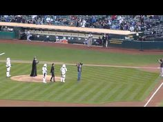 Darth Vader throws the first pitch at a ballgame!