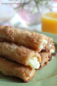 Crack Sticks aka Cinnamon Cream Cheese Roll-Ups: Oh My Goodness! These are so easy and OH MY YUMMY GOOD...just white bread, crusts removed  flattened, spread w sweetened cream cheese, rolled jelly roll style, then dipped in cinnamon sugar  baked until crispy crunchy  cream cheese is hot  oozing. Delicious finger food for a brunch or shower.