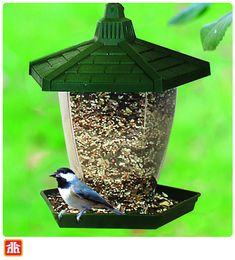 Make the most of your bird-feeding space with this bird feeder. This plastic feeder offers a 1.25 pound seed capacity, which is perfect for smaller yards and patios. Thing 1, Gardening Tools, Bird Feeders, Yards, Plastic, Space, Outdoor Decor, Home Decor, Courtyards