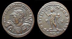 CONSTANTIN I Ae3. A/ IMP CONSTANTINVS A-VG, buste lauré, casqué et cuirassé à gauche, un cheval à sa droite, tenant une lance par dessus l'épaule de sa main droite et un bouclier orné d'un cavalier terrassant un ennemi de sa main gauche, R/ SOLI INVIC-TO COMITI, Soleil debout à gauche levant la main droite et tenant un globe, T/F dans le champ (TEMPORVM FELICITAS, la Félicité du temps), PLG à l'exergue - Lyon - 314/315 – RIC. manque avec ce type de buste – 3,6 g