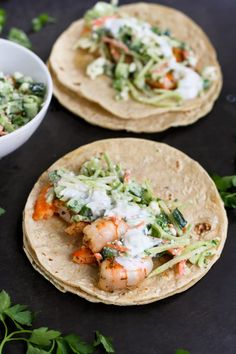 Greek Shrimp Tacos with Feta Broccoli Slaw…Plump, juicy shrimp take a starring role in these healthy, delicious tacos! 183 calories and 4 Weight Watchers SmartPoints
