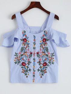 OBTÉN $50 AHORA   Únete a Zaful: Obtén tus $50 AHORA!http://es-m.zaful.com/striped-embroidered-cold-shoulder-top-p_278127.html?seid=4264698zf278127