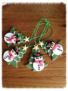 Snowmen polymer clay Christmas Tree decorations