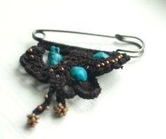 Crochet  kilt pin brooch fiber jewelry in black with by toiowo, $14.00