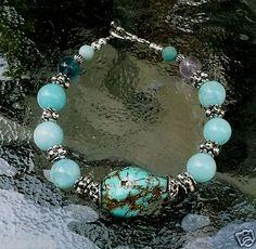 Genuine Turquoise Amazonite Flourite Antique Silver Bracelet Earring Set $29.99