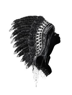 gorgeous print of a silhouette of a girl in a feathery headdress.