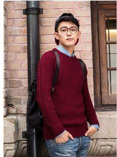 Mens camisola 2015 nova primavera mens o pescoço homem pulôver engrosse estilo britânico casual vermelho / azul moda masculina camisola camisola em Pulôvers de Roupas e Acessórios Masculinos no AliExpress.com | Alibaba Group