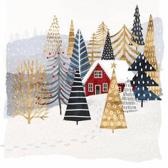 'Christmas Chalet I' Painting on Wrapped Canvas - Christmas Illustration - Illustration Noel, Winter Illustration, Christmas Illustration Design, Illustrations, Christmas Design, Christmas Art, Christmas Decorations, Christmas Graphics, Christmas Posters